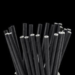 BLACK PAPER STRAW 14CM X500